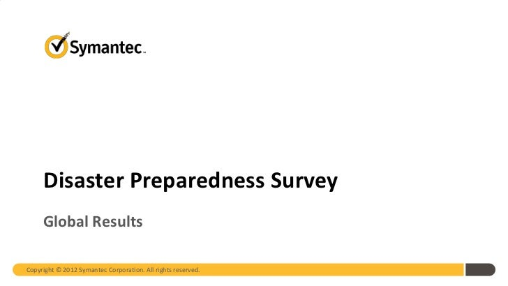 2012 SMB Disaster Preparedness Survey Global Results May 2012