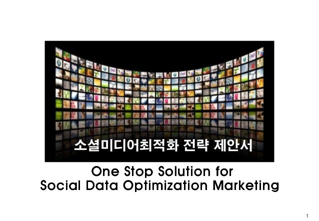 소셜미디어최적화 전략 제안서        One Stop Solution forSocial Data Optimization Marketing                                     1
