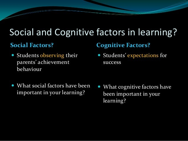what cognitive factors are involved in learning
