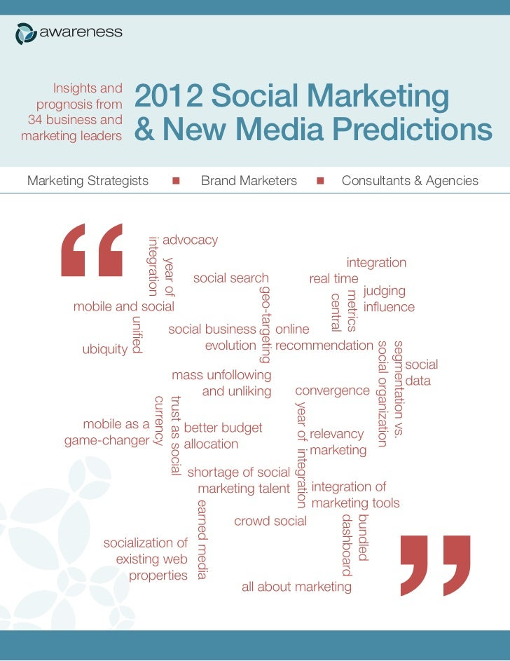 Insights and  prognosis from    2012 Social Marketing 34 business andmarketing leaders   & New Media Predictions Marketing...