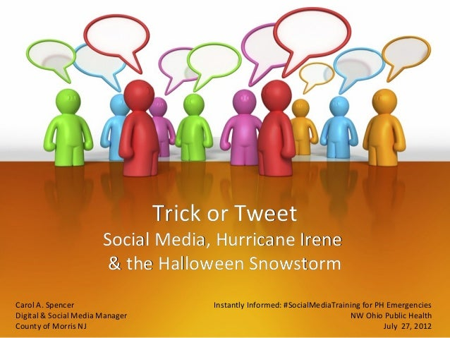 Trick or Tweet  Social Media, Hurricane Irene & the Halloween Snowstorm Carol A. Spencer Digital & Social Media Manager Co...