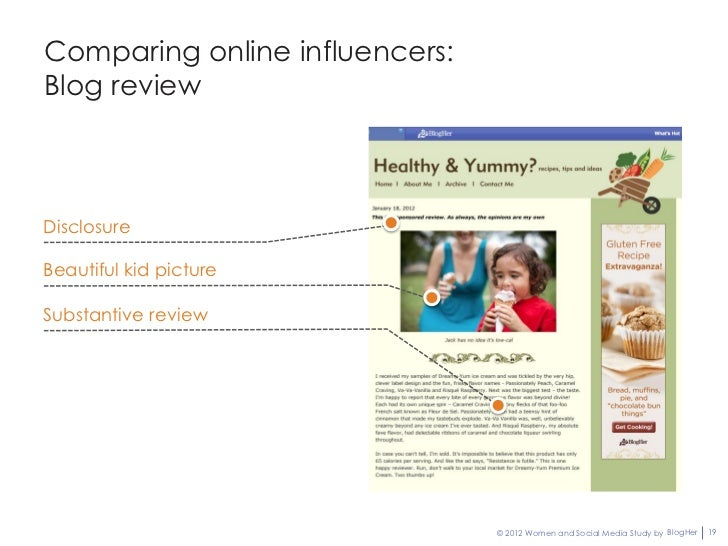 Comparing online influencers:Blog reviewDisclosureBeautiful kid pictureSubstantive review                                ©...