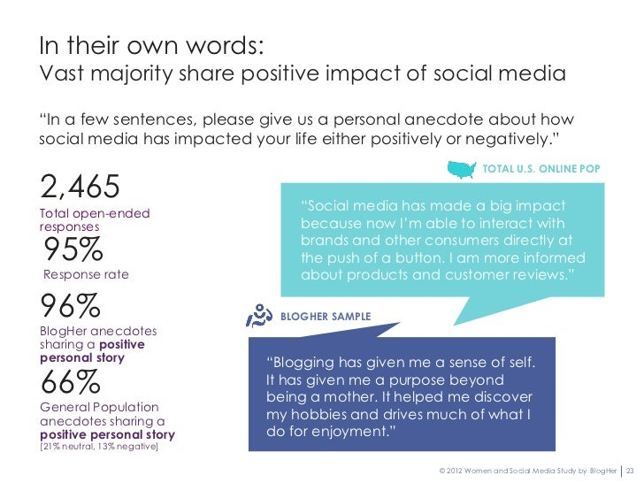 """In their own words:Vast majority share positive impact of social media""""In a few sentences, please give us a personal anecd..."""