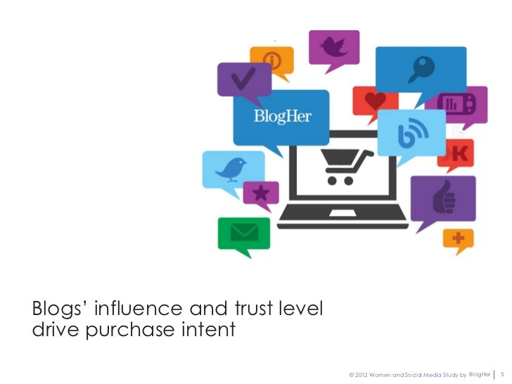 Blogs' influence and trust leveldrive purchase intent                                   © 2012 Women and Social Media Stud...