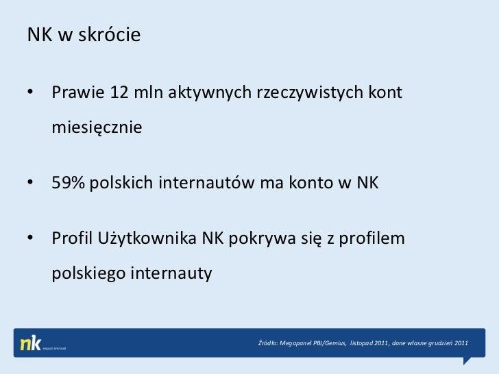 NK w skrócie• Prawie 12 mln aktywnych rzeczywistych kont   miesięcznie• 59% polskich internautów ma konto w NK• Profil Uży...