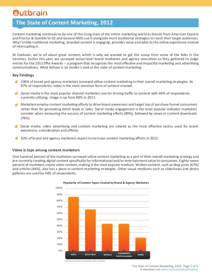 The State of Content Marketing, 2012Content marketing continues to be one of the rising stars of the online marketing worl...
