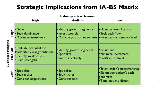 Strategic Implications from IA-BS Matrix •Grow •Seek dominance •Maximize investment •Identify growth segments •Invest stro...