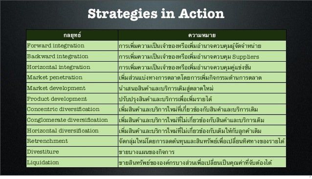 Strategies in Action กลยุทธ์ ความหมาย Forward integration การเพิ่มความเป็นเจ้าของหรือเพิ่มอํานาจควบคุมผู้จัดจําหน่าย Backw...