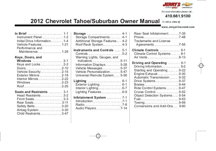 Chevrolet Tahoe/Suburban Owner Manual - 2012 - 2nd - 11/9/11                                                              ...