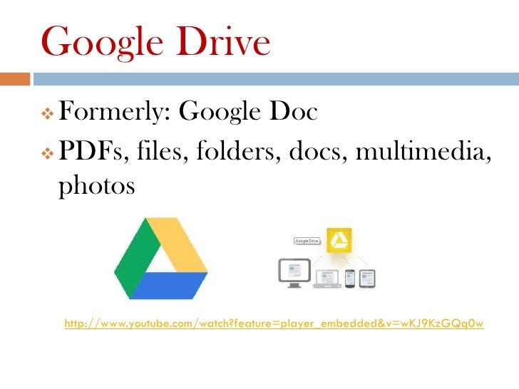 Google Drive Formerly: Google Doc PDFs, files, folders, docs, multimedia,  photos    http://www.youtube.com/watch?featur...