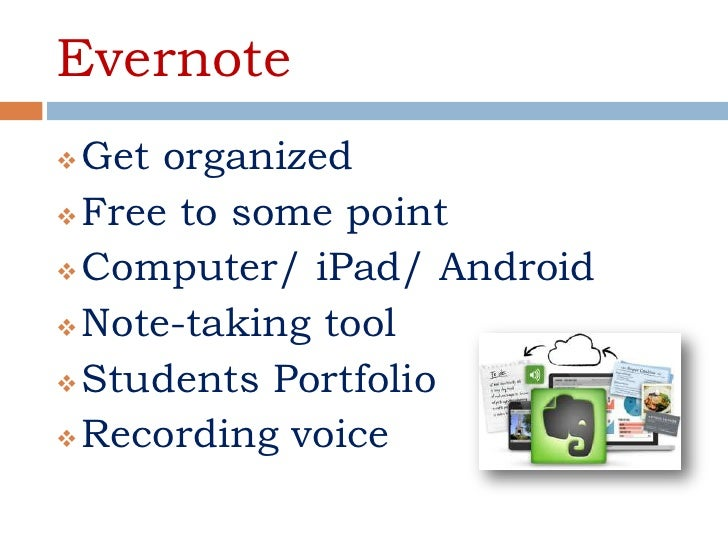 Evernote Get organized Free to some point Computer/ iPad/ Android Note-taking tool Students Portfolio Recording voice