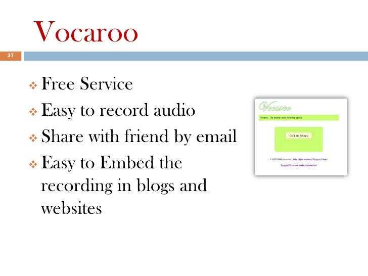 Vocaroo31      Free Service      Easy to record audio      Share with friend by email      Easy to Embed the       rec...