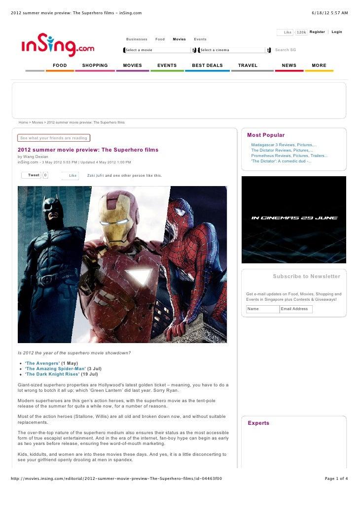 2012 summer movie preview: The Superhero films - inSing.com                                                               ...