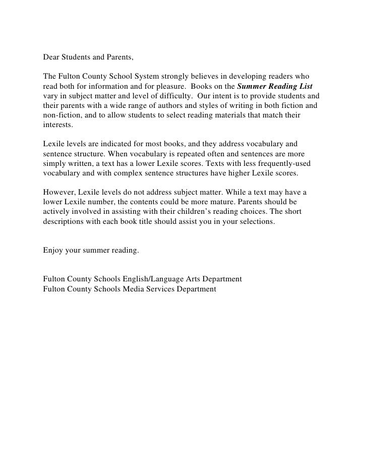 Dear Students and Parents,The Fulton County School System strongly believes in developing readers whoread both for informa...