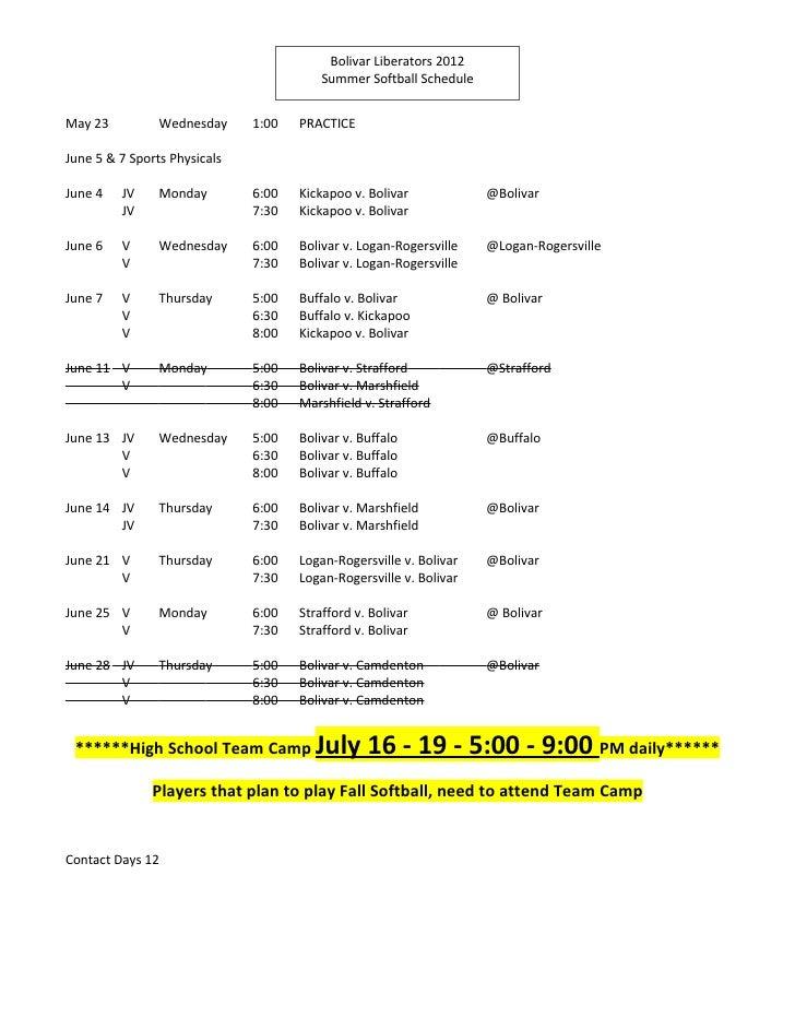 Bolivar Liberators 2012                                         Summer Softball ScheduleMay 23          Wednesday     1:00...