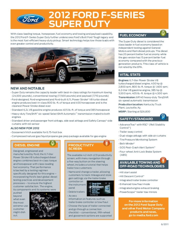 2012 ford f-series                                 super dutyWith class-leading torque, horsepower, fuel economy and towin...