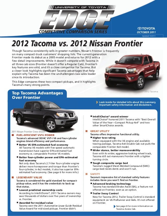 2012 tacoma vs 2012 nissan frontier  north hollywood toyota los an