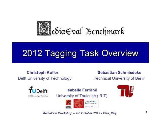 2012 Tagging Task Overview     Christoph Kofler                             Sebastian SchmiedekeDelft University of Techno...