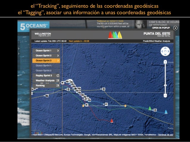 """el """"Tracking"""", seguimiento de las coordenadas geodésicas  el """"Tagging"""", asociar una información a unas coordenadas geodés..."""