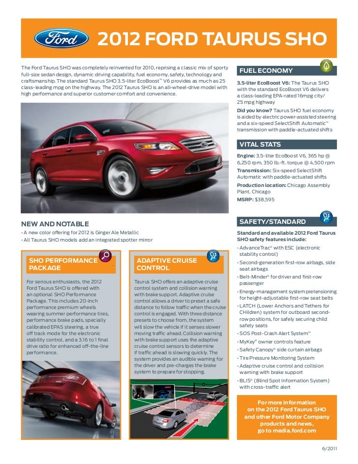 2012 fOrd tauruS SHOThe Ford Taurus SHO was completely reinvented for 2010, reprising a classic mix of sportyfull-size sed...