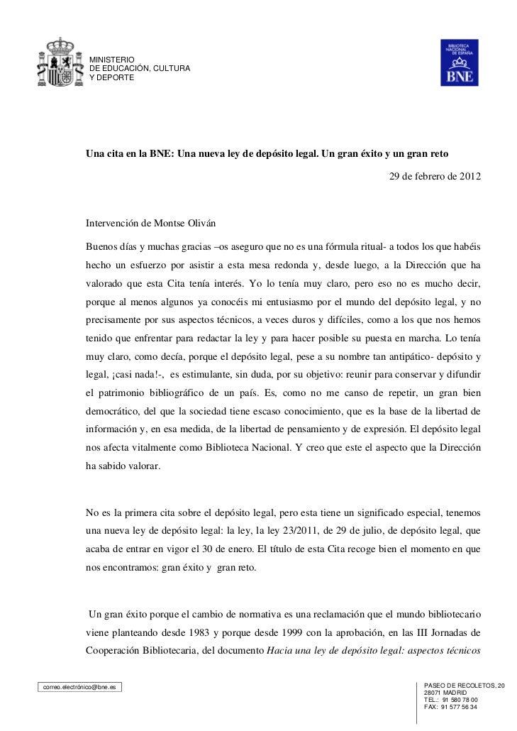 MINISTERIO               DE EDUCACIÓN, CULTURA               Y DEPORTE              Una cita en la BNE: Una nueva ley de d...