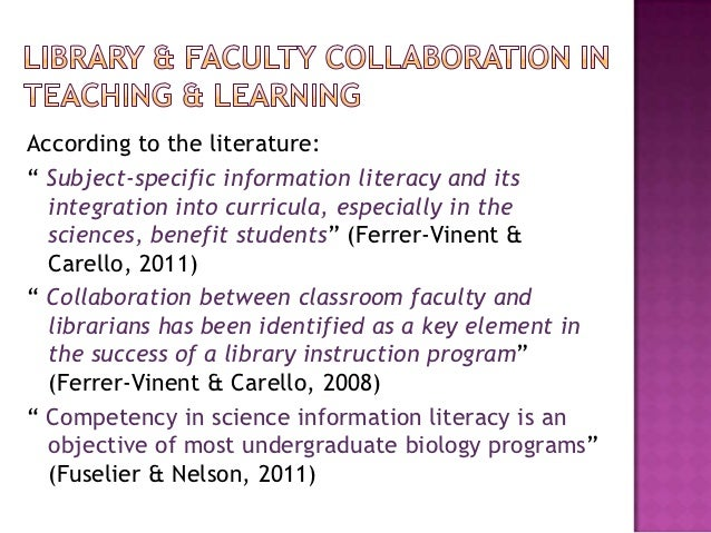 Collaborative Classroom Reading Curriculum ~ The library and st year science students collaboration