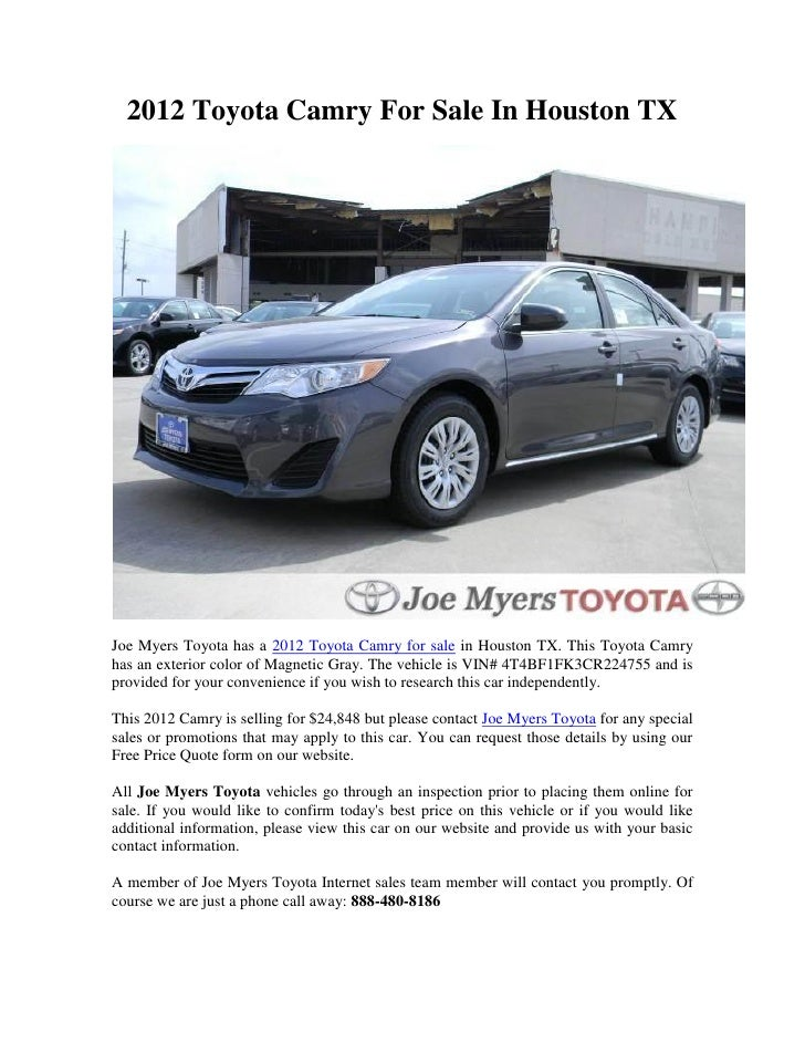 2012 Toyota Camry For Sale In Houston TXJoe Myers Toyota Has A 2012 Toyota  Camry For ...