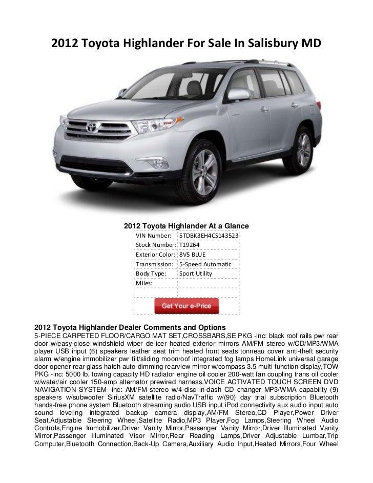 2012 Toyota Highlander For Sale >> 2012 Toyota Highlander For Sale In Salisbury Md