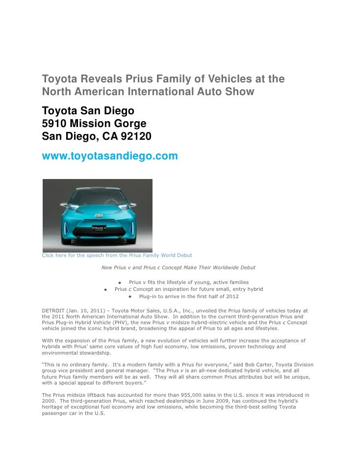 Toyota Reveals Prius Family of Vehicles at theNorth American International Auto ShowToyota San Diego5910 Mission GorgeSan ...