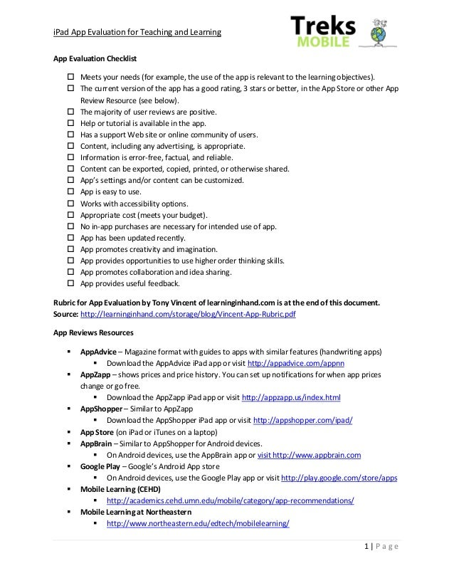 iPad App Evaluation for Teaching and LearningApp Evaluation Checklist    Meets your needs (for example, the use of the ap...
