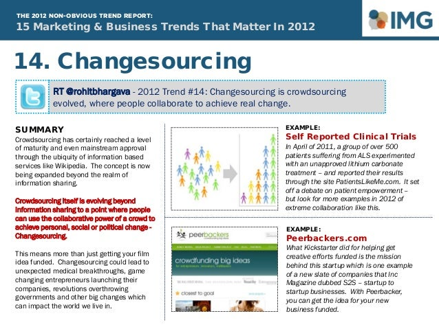 15 Marketing & Business Trends That Matter In 2012 THE 2012 NON-OBVIOUS TREND REPORT: RT @rohitbhargava - 2012 Trend #14: ...