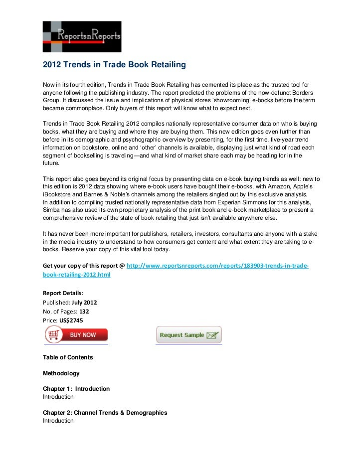 2012 Trends in Trade Book RetailingNow in its fourth edition, Trends in Trade Book Retailing has cemented its place as the...