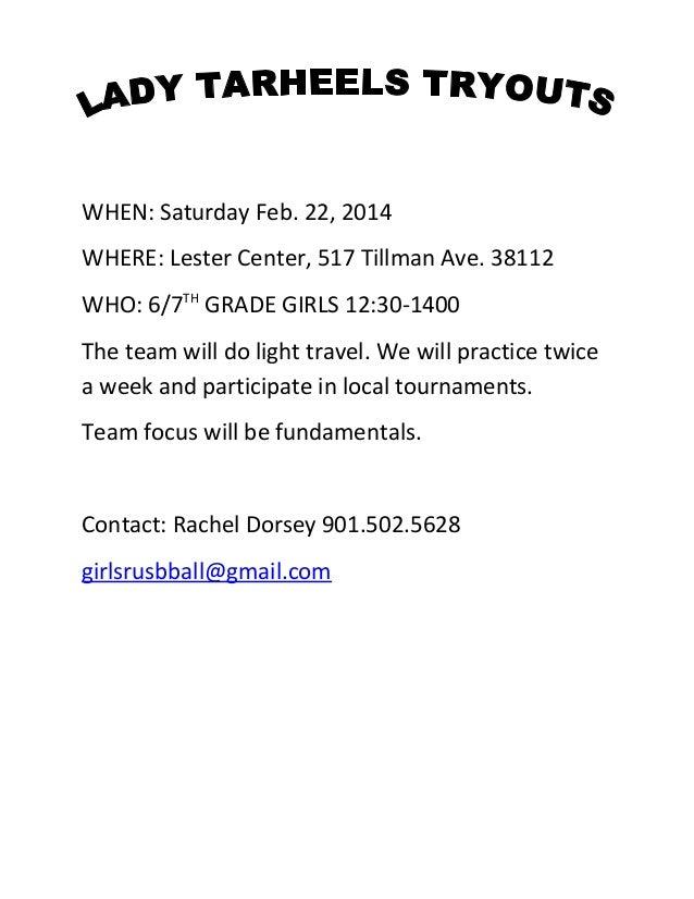 WHEN: Saturday Feb. 22, 2014 WHERE: Lester Center, 517 Tillman Ave. 38112 WHO: 6/7TH GRADE GIRLS 12:30-1400 The team will ...