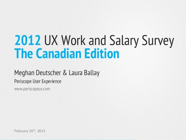 2012 UX Work and Salary SurveyThe Canadian EditionMeghan Deutscher & Laura BallayPeriscope User Experiencewww.periscopeux....