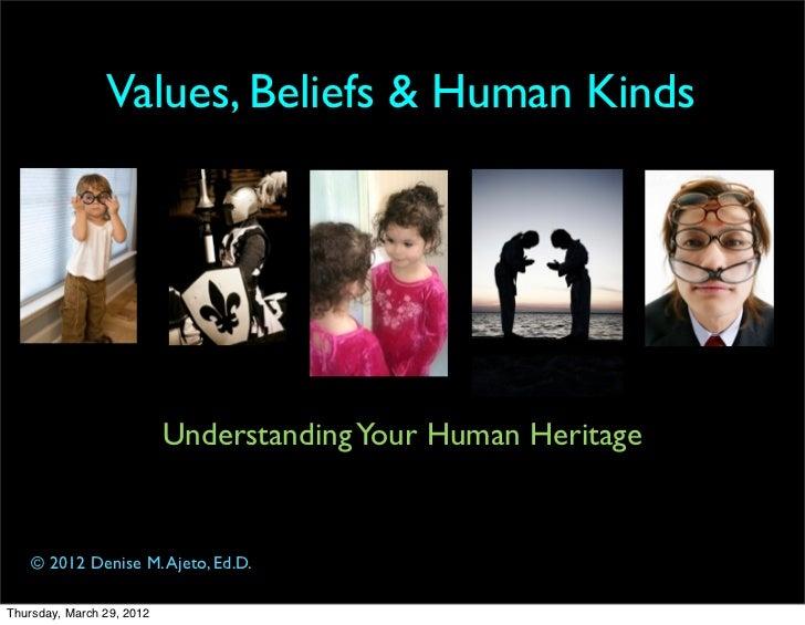 Values, Beliefs & Human Kinds                           Understanding Your Human Heritage    © 2012 Denise M. Ajeto, Ed.D....