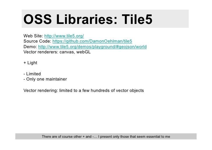 OSS Libraries: Tile5Web Site: http://www.tile5.org/Source Code: https://github.com/DamonOehlman/tile5Demo: http://www.tile...
