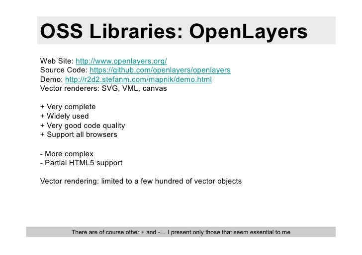 OSS Libraries: OpenLayersWeb Site: http://www.openlayers.org/Source Code: https://github.com/openlayers/openlayersDemo: ht...