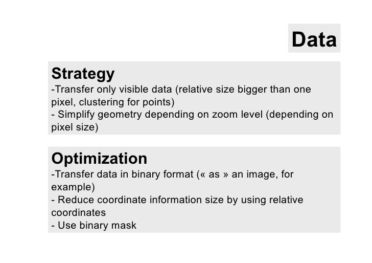 DataStrategy-Transfer only visible data (relative size bigger than onepixel, clustering for points)- Simplify geometry d...