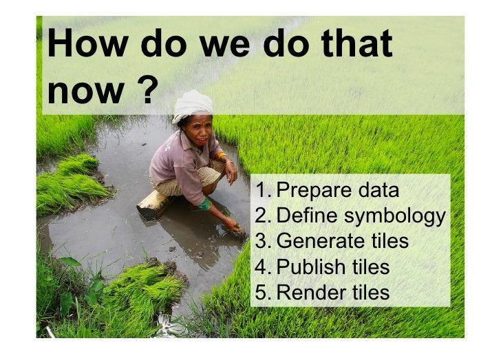 How do we do thatnow ?          1.Prepare data          2.Define symbology          3.Generate tiles          4.Publis...