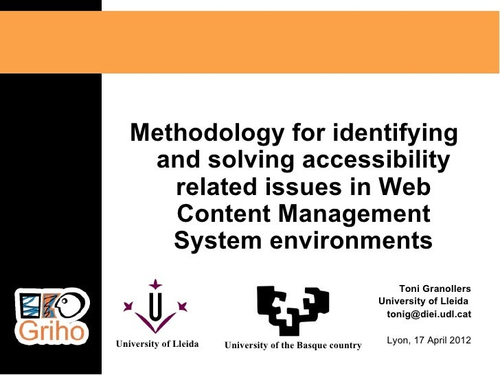 Methodology for identifying    and solving accessibility      related issues in Web      Content Management      System en...