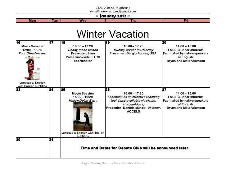 2012 word calendar