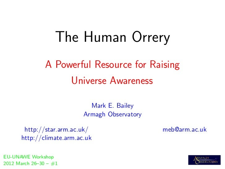 The Human Orrery                A Powerful Resource for Raising                        Universe Awareness                 ...