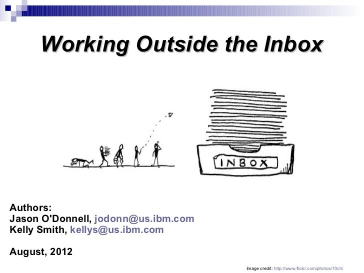 Working Outside the InboxAuthors:Jason ODonnell, jodonn@us.ibm.comKelly Smith, kellys@us.ibm.comAugust, 2012              ...