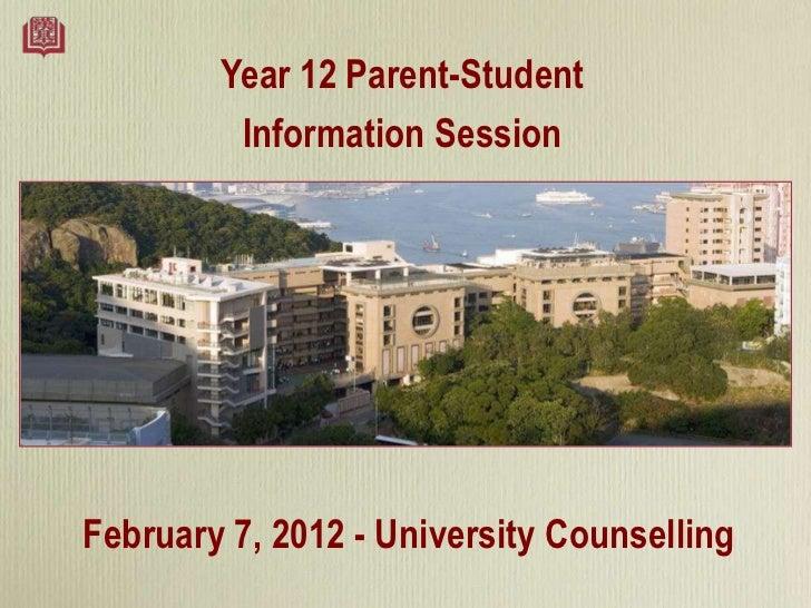 2012 Year 12 Parent Info Night