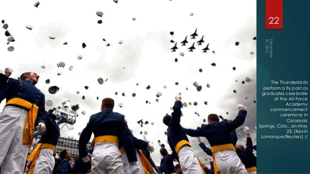22     The Thunderbirds  perform a fly past as  graduates celebrate       at the Air Force            Academy     commence...