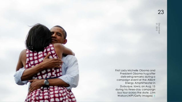 23First Lady Michelle Obama and     President Obama hug after      delivering remarks during a campaign event at the Allia...