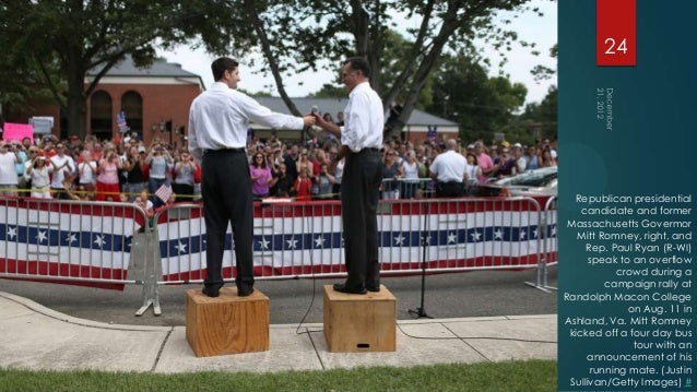 24  Republican presidential    candidate and former Massachusetts Govermor   Mitt Romney, right, and     Rep. Paul Ryan (R...