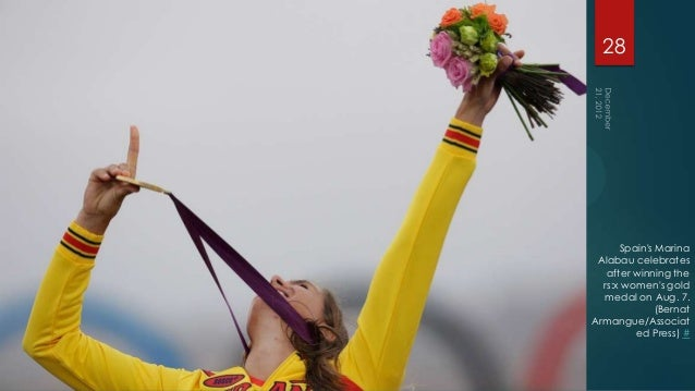 28      Spains Marina Alabau celebrates   after winning the  rs:x womens gold  medal on Aug. 7.              (BernatArmang...
