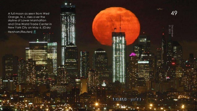 A full moon as seen from WestOrange, N.J., rises over the                                49skyline of Lower Manhattanand O...