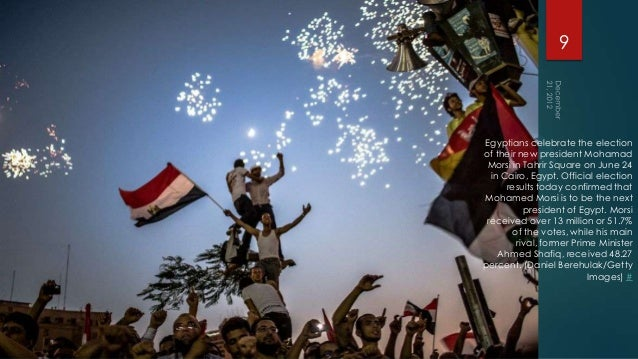 9Egyptians celebrate the electionof their new president Mohamad Morsi in Tahrir Square on June 24  in Cairo, Egypt. Offici...